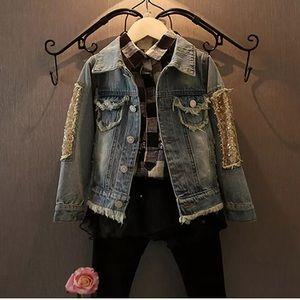 Jackets & Coats - SEQUINED DISTRESSED DENIM JACKET FOR LITTLE GIRLS